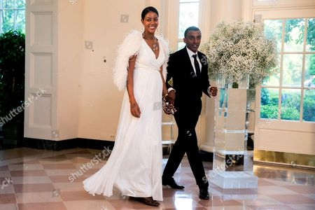 Stock Image of Marcus Samuelsson, Maya Samuelsson Chef and restaurateur Marcus Samuelsson and his wife Maya Samuelsson arrive for a state dinner for Nordic leaders at the White House in Washington, . Nordic leaders are at the White house for a U.S.-Nordic Summit on security and economic issues followed by a State Dinner