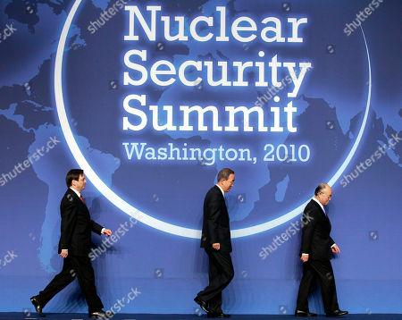 Dan Meridor, Ban Ki-moon, Yukiya Amano From left, Israeli Deputy Prime Minister Dan Meridor, U.N. Secretary-General Ban Ki-moon and IAEA Director General Yukiya Amano walks across the stage to take their places for the group photo during the Nuclear Security Summit in Washington