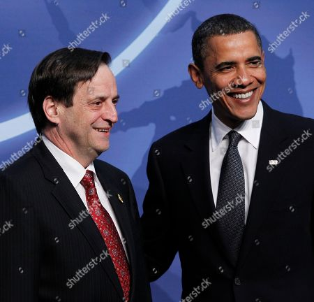 President Barack Obama greets Israeli Deputy Prime Minister Dan Meridor during the official arrivals for the Nuclear Security Summit in Washington