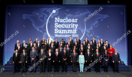 President Barack Obama, center, poses for a group photo with the delegation heads attending the Nuclear Security Summit in Washington,. There are left to right from the bottom row to the top, South Korean President Lee Myung-bak, French President Nicolas Sarkozy, Georgian President Mikhail Saakashvili, Brazilian President Luiz Inacio Lula da Silva, Finnish President Tarja Halonen, Kazakh President Nursultan Nazarbayev, President Barack Obama, Jordanian King Abdullah II, Philippines President Gloria Macapagal Arroyo, Chinese President Hu Jintao, Mexican President Felipe Calderon, Argentine President Cristina Fernandez de Kirchner, Armenian President Serge Sarkisian, Norwegian Prime Minister Jens Stoltenberg, Indian Prime Minister Manmohan Singh, Turkish Prime Minister Recep Tayyip Erdogan, Nigeria acting President Goodluck Johnathan, Ukraine President Viktor Yanukovych, South African President Jacob Zuma, Russian President Dmitry Medvedev, Swiss President Doris Leuthard, Chilean President Sebastian Pinera, Dutch Prime Minister Jan Peter Balkenende, Spanish Prime Minister Jose Luis Rodriguez Zapatero, Singapore Prime Minister Lee Hsien Loong, German Chancellor Angela Merkel, European Union Herman Van Rompuy, Belgian Prime Minister Yves Leterme, Czech Prime Minister Jan Fischer, New Zealand Prime Minister John Key, Pakistani Prime Minister Syed Yousuf Raza Gilani, Moroccan Prime Minister Abbas El Fassi, Vietnamese Prime Minister Nguyen Tan Dung, Canadian Prime Minister Stephen Harper, Swedish Prime Minister Fredrik Reinfeldt, Poland's Ambassador to the U.S. Robert Kupiecki, Italian Premier Silvio Berlusconi, Malaysian Prime Minister Najib Tun Razak, Japanese Prime Minister Yukio Hatoyama, Saudi Intelligence Chief Prince Muqrin bin Abdulaziz Al Saud, Algerian Foreign Affairs Minister Mourad Medelci, Egyptian Foreign Minister Ahmed Aboul Gheit, Sheik Mohamed bin Zayed Al Nahyan, crown prince of Abu Dhabi and deputy supreme commander of the UAE armed forces, Indonesian Vice President Boediono, Deputy Th