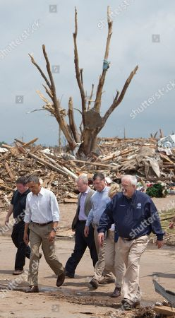 Barack Obama, Glenn Lewis, Tom Cole, Mary Fallin, W. Craig Fugate, Mick Cornett President Barack Obama tours the devastated Plaza Towers Elementary School and the surrounding area with Moore, Okla., Mayor Glenn Lewis, left, Oklahoma City Mayor Mick, Cornett, third from left, Rep. Tom Cole, R-Okla., fourth from left, Oklahoma Gov. Mary Fallin, second from right, and FEMA administrator W. Craig Fugate, right, in Moore, Okla., caused by tornado and severe weather last week
