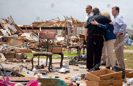 Barack Obama, Glenn Lewis, Tom Cole, Mary Fallin President Barack Obama tours the destroyed area surrounding the Plaza Towers Elementary School as Moore, Okla., Mayor Glenn Lewis, second from left, and Oklahoma Gov. Mary Fallin, third form left, comfort each other and Rep. Tom Cole, R-Okla., stands right, in Moore, Okla., caused by tornado and severe weather last week