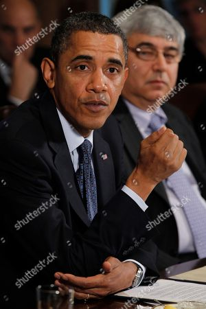 Barack Obama, Pete Rouse President Barack Obama is seated with White House Chief of Staff Pete Rouse as he makes a statement to reporters after meeting with his staff and Cabinet members in the Cabinet Room at the White House in Washington