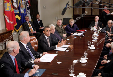 Barack Obama, Joe Biden, James A. Baker, Joe Biden, Henry Kissinger, James Cartwright, Madeleine Albright, William Perry, Brent Scowcroft President Barack Obama about the New START pact (Strategic Arms Reduction Treaty), in the Roosevelt Room at the White House in Washington. Seated from left are: former Secretary of State James A. Baker III, Vice President Joe Biden, Obama, former Secretary of State Henry Kissinger, Joint Chiefs Vice Chairman Marine Gen. James Cartwright, former Secretary of State Madeleine Albright, Former National Security Adviser Brent Scowcroft, and former Defense Secretary William Perry