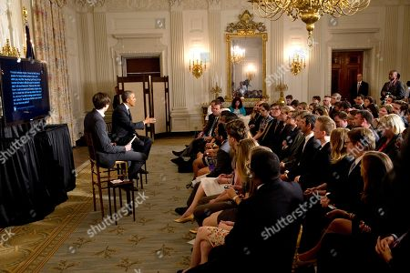 Barack Obama, David Karp Tumblr Founder and CEO David Karp, left, listens as President Barack Obama answers questions during a Tumblr forum from the State Dining Room of the White House in Washington