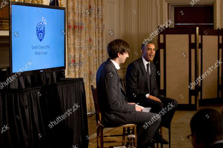 Stock Picture of Barack Obama, David Karp President Barack Obama answers questions during a Tumblr forum from the State Dining Room of the White House in Washington, moderated by Tumblr Founder and CEO David Karp, left