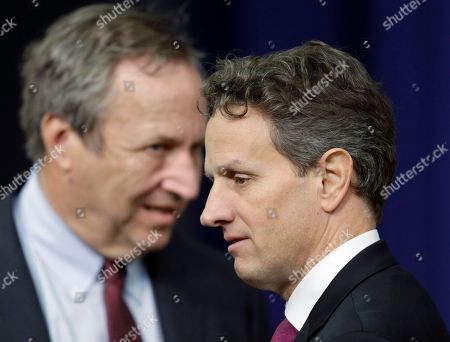 Lawrence Summers, Tim Geithner President Barack Obama's top economic advisers, Director of the National Economic Council Lawrence Summers, at left, and Treasury Secretary Tim Geithner, right, meet before Obama signed the bipartisan tax package that extends tax cuts at the Eisenhower Executive Office Building in the White House complex, in Washington