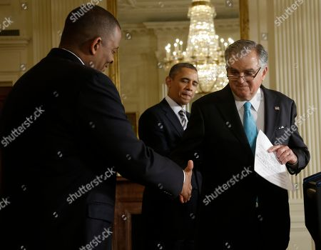 Barack Obama, Anthony Foxx, Ray LaHood President Barack Obama, center, watches as Transportation Secretary Ray LaHood, right, shake hands with Charlotte, NC., Mayor Anthony Foxx, left, after announcing that Foxx will be nominated to succeed LaHood, in the East Room of the White House in Washington