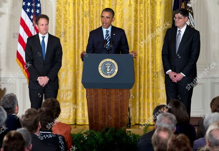 Barack Obama, Jack Lew, Timothy Geithner President Barack Obama, accompanied by outgoing Treasury Secretary Timothy Geithner, announces in the East Room of the White House in Washington, he will nominate current White House Chief of Staff Jack Lew as the next Treasury Secretary