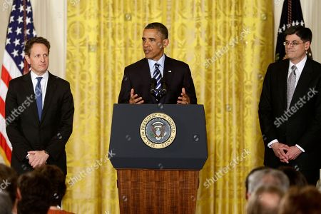 Barack Obama, Jack Lew, Tim Geithner President Barack Obama, flanked by outgoing Treasury Secretary Timothy Geithner, left, and current White House Chief of Staff Jack Lew, gestures while speaking in the East Room of the White House in Washington, where he announced he will nominate Lew to succeed Geithner as treasury secretary