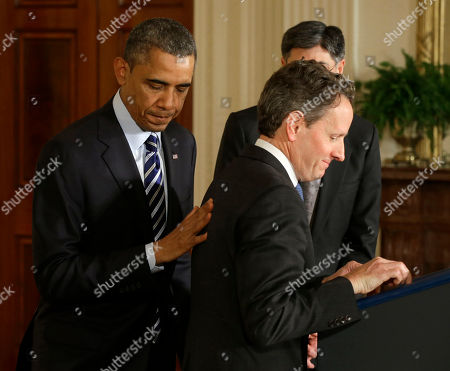 Barack Obama, Jack Lew, Timothy Geithner President Barack Obama pats outgoing Treasury Secretary Timothy Geithner on the back, in the East Room of the White House in Washington, where he announced he would nominate current White House Chief of Staff Jack Lew, right, to replace Geithner