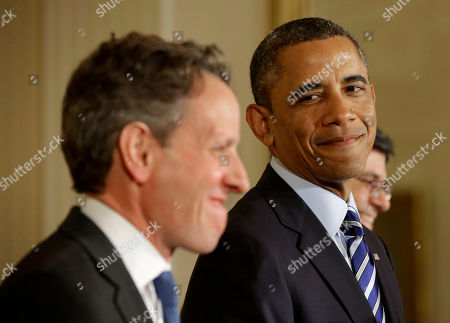 Barack Obama, Jack Lew, Timothy Geithner President Barack Obama smiles toward outgoing Treasury Secretary Timothy Geithner, as he announces in the East Room of the White House in Washington, he will nominate current White House Chief of Staff Jack Lew, right, as the next Treasury Secretary