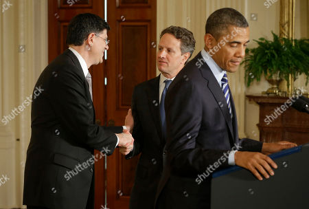 Barack Obama, Jack Lew, Timothy Geithner Outgoing Treasury Secretary Timothy Geithner, center, shakes hands with current White House Chief of Staff Jack Lew, behind President Barack Obama in the East Room of the White House in Washington, where the president announced he would nominate Lew to succeed Geithner
