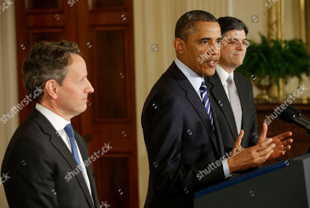 Barack Obama, Jack Lew, Timothy Geithner President Barack Obama, flanked by outgoing Treasury Secretary Timothy Geithner, left, and current White House Chief of Staff Jack Lew, gestures as he speaks in the East Room of the White House in Washington, where he announced he will nominate Lew to succeed Geithner as treasury secretary