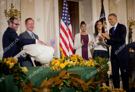 """Barack Obama, Sasha Obama, Gary Cooper, Cole Cooper President Barack Obama, right, with daughters Sasha, third from right, and Malia, second from right, carries on the Thanksgiving tradition of saving a turkey from the dinner table with a """"presidential pardon"""" of 'Cheese' in the Grand Foyer of the White House in Washington, . Also with Cheese are Gary Cooper chairman of the National Turkey Federation and owner of Cooper Farms and his son Cole Cooper, far left"""