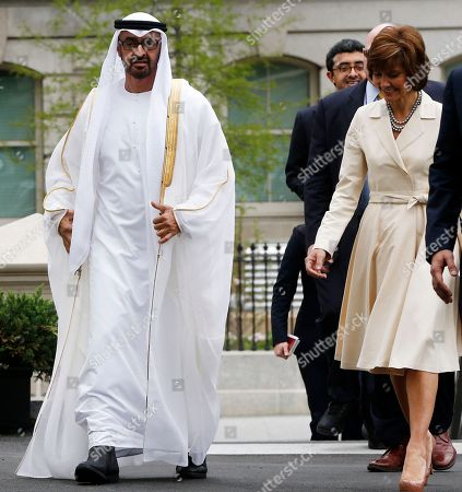 Sheik Mohammed bin Zayed al Nahyan, Capricia Marshall Abu Dhabi Crown Prince Sheik Mohammed bin Zayed al Nahyan walks with U.S. Chief of Protocol Capricia Marshall into the West Wing of the White House in Washington, for a private lunch with President Barack Obama