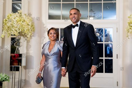 Grant Hill, Tamia Hill Grant Hill and his wife Tamia arrive for a State Dinner for Canadian Prime Minister Justin Trudeau, at the White House in Washington