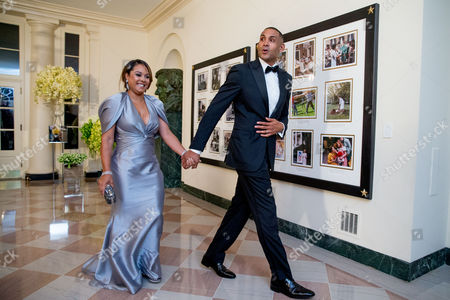 Stock Picture of Grant Hill, Tamia Hill Grant Hill and his wife Tamia arrive for a State Dinner for Canadian Prime Minister Justin Trudeau, at the White House in Washington