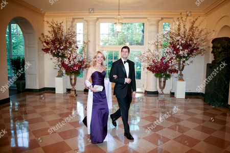 Paul Ryan, Janna Ryan Rep. Paul Ryan, R-Wis. and his wife Janna arrive for a state dinner for Japanese Prime Minister Shinzo Abe, at the White House in Washington