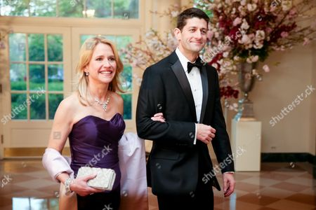Paul Ryan, Janna Ryan Rep. Paul Ryan, R-Wis., and his wife Janna arrive for a state dinner for Japanese Prime Minister Shinzo Abe, at the White House in Washington