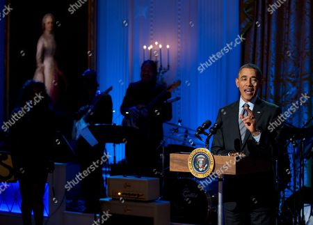 """Barack Obama President Barack Obama speaks during the """"In Performance at the White House: Women of Soul"""" in the East Room of the White House in Washington, hosted by the president and first lady Michelle Obama. The program included performances by Patti LaBelle, Tessanne Chin, Melissa Etheridge, Aretha Franklin, Ariana Grande, Janelle Monáe and Jill Scott"""