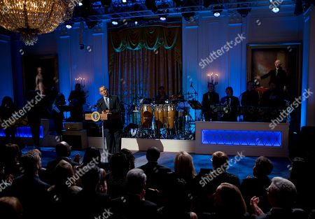 """Barack Obama President Barack Obama speaks during the """"In Performance at the White House: Women of Soul"""" in the East Room of the White House in Washington, hosted by Obama and first lady Michelle Obama. The program included performances by Patti LaBelle, Tessanne Chin, Melissa Etheridge, Aretha Franklin, Ariana Grande, Janelle Monáe and Jill Scott"""