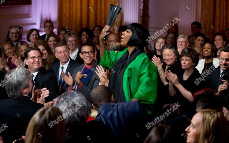 """Melissa Etheridge, Patti LaBelle, Valerie Jarrett Patti LaBelle waves as she arrives at the """"In Performance at the White House: Women of Soul"""" in the East Room of the White House in Washington, hosted by President Barack Obama, and first lady Michelle Obama. The program include performances by Patti LaBelle, Tessanne Chin, Melissa Etheridge, Aretha Franklin, Ariana Grande, Janelle Monáe and Jill Scott. Seated behind LaBelle is White House Senior Advisor Valerie Jarrett, and Melissa Etheridge, bottom right"""