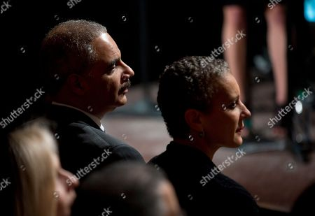 """Eric Holder, Sharon Malone Attorney General Eric Holder, and his wife Sharon Malone, watch the """"In Performance at the White House: Women of Soul"""" in the East Room of the White House in Washington, hosted by President Barack Obama and first lady Michelle Obama. The program included performances by Patti LaBelle, Tessanne Chin, Melissa Etheridge, Aretha Franklin, Ariana Grande, Janelle Monáe and Jill Scott"""