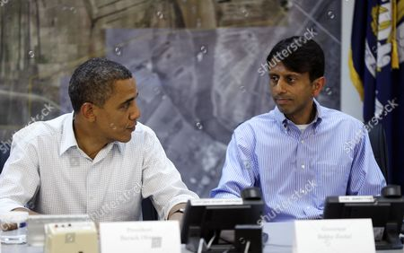 Barack Obama, Bobby Jindal President Barack Obama, left, and Gov. Bobby Jindal, right, and other local official during a briefing at Saint John Parish Emergency Operations Center (EOC) in LaPlace, La., in Saint John the Baptist Parish, . Obama traveled to the region to view the ongoing response and recovery efforts to Hurricane Isaac