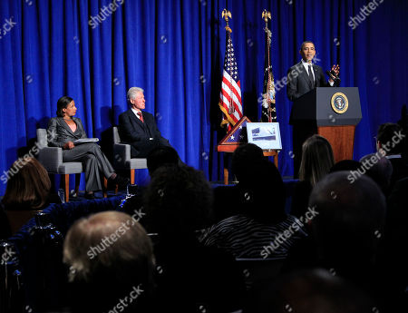 Barack Obama, Susan E. Rice, Bill Clinton President Barack Obama, right, speaks at the dedication of the Ronald H. Brown United States Mission to the United Nations Building in New York . Also on stage with Obama are US Ambassador to UN Susan E. Rice, left, and former President Bill Clinton, center