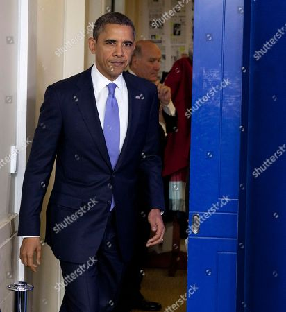 Barack Obama, William Daley President Barack Obama, followed by White House Chief of Staff William Daley, arrives for a news conference, in the White House briefing room in Washington