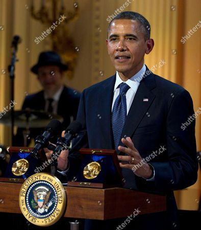 "Barack Obama President Barack Obama speaks during the ""In Performance at the White House"" in the East Room of the White House, in Washington, honoring songwriters Burt Bacharach and Hal David, recipients the 2012 Library of Congress Gershwin Prize for Popular Song"