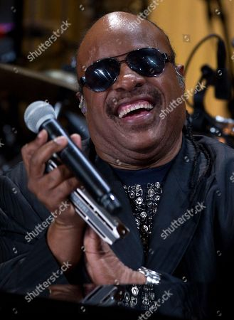 "Stevie Wonder Stevie Wonder smiles after performing during the ""In Performance at the White House"" in the East Room of the White House, in Washington, honoring songwriters Burt Bacharach and Hal David, recipients of the 2012 Library of Congress Gershwin Prize for Popular Song"