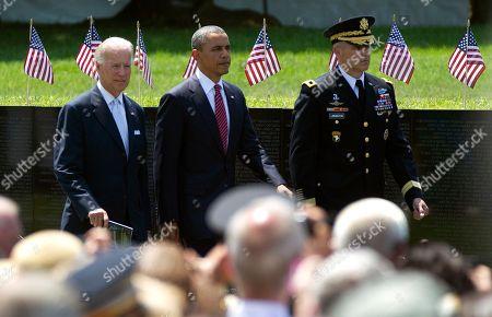 Barack Obama, Maj. Gen. Michael S. Linnington, Joe Biden President Barack Obama, Vice President Joe Biden, left, and Maj. Gen. Michael Linnington, right, arrive for a Memorial Day ceremony at the Vietnam Veterans Memorial Wall to commemorate the 50th anniversary of the Vietnam War, in Washington