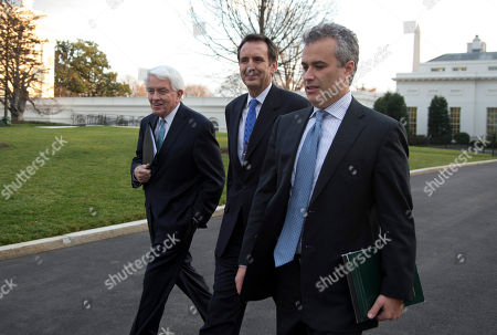 Stock Picture of Tim Pawlenty, Tom Donohue, Jeffrey Zients From left, U.S. Chamber of Commerce Chief Executive Tom Donohue, former Minnesota Gov. and GOP presidential candidate Tim Pawlenty, and, Jeffrey Zients of the Office of Management and Budget, walk from the White House after a meeting with White House staff regarding the fiscal cliff, in Washington