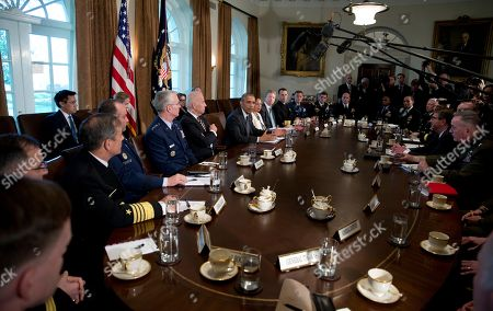 Barack Obama, Shaun Donovan, Susan Rice, Joseph Votel, John M. Richardson, Paul F. Zukunft, Kurt W. Tidd, Paul J. Selva, Joe Biden, Joseph F. Dunford, Ash Carter President Barack Obama, center left, joined by from the his left, Gen. Paul J. Selva, Vice Chairman of the Joint Chiefs of Staff, Vice President Joe Biden, the president, National Security Adviser Susan Rice, Director of the Office of Management and Budget Shaun Donovan, Adm. John M. Richardson, Chief of Naval Operations, Adm. Paul F. Zukunft, Commandant of the Coast Guard, and Gen. Joseph L. Votel, Commander, United States Central Command, Adm. Kurt W. Tidd, Commander, United States Southern Command, and from right, Gen. Joseph F. Dunford, Chairman of the Joint Chiefs, and Defense Secretary Ash Carter, speaks during a meeting with Combatant Commanders and Joint Chiefs of Staff in the Cabinet Room of the White House in Washington