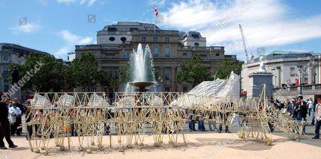 Stock Image of 'Strandbeests' by Theo Jansen, Trafalgar Square, London, Britain