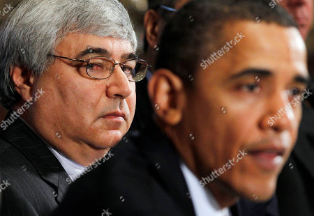Barack Obama, Pete Rouse White House Chief of Staff Pete Rouse looks on as President Barack Obama makes a statement to reporters after meeting with his staff and Cabinet members in the Cabinet Room of the White House in Washington