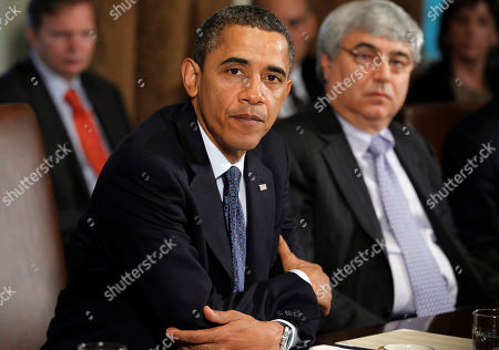 Barack Obama, Pete Rouse President Barack Obama is seated next to White House Chief of Staff Pete Rouse, as he makes a statement to reporters after meeting with his staff and Cabinet members in the Cabinet Room of the White House in Washington