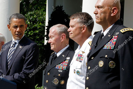 Barack Obama, Robert Gates, Ray Odierno, Martin Dempsey, James Winnefeld President Barack Obama introduces his choice for the next Chairman of the Joint Chiefs of Staff, from left, Army Gen. Martin Dempsey, the next vice chairman of the Joint Chiefs of Staff Adm. James Winnefeld and Gen. Ray Odierno to be Army Chief of Staff during a Rose Garden announcement at the White House in Washington