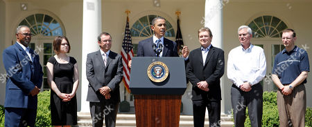 Barack Obama, James Morrir, Carla Reysack, Malcolm Unsworth, David Vieau, James Fenton, Antonio Biundo President Barack Obama, accompanied by business people, gestures while speaking in the Rose Garden of the White House in Washington, . From left are, from technology firm Itron, setup-repair operator James Morris; production assembler Carla Reysack; Itron President and Chief Executive Officer Malcolm Unsworth; the president. From A123 Systems, President and Chief Executive Officer David Vieau; A123 Systems electrical engineer James Fenton; and A123 Systems design engineer Antonio Biundo