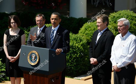 Stock Picture of Barack Obama, Carla Reysack, Malcolm Unsworth, David Vieau, James Fenton President Barack Obama, accompanied by business people, gestures while speaking in the Rose Garden of the White House in Washington, . From left are, from technology firm Itron production assembler Carla Reysack; Itron President and Chief Executive Officer Malcolm Unsworth; the president. From A123 Systems, President and Chief Executive Officer David Vieau; and A123 Systems electrical engineer James Fenton
