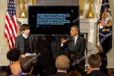 Barack Obama, David Karp President Barack Obama answers a question during a Tumblr forum, moderated by Tumblr founder and CEO David Karp, left, in the State Dining Room of the White House in Washington