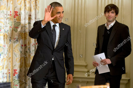Barack Obama, David Karp President Barack Obama arrives for a Tumblr forum with Tumblr Founder and CEO David Karp, in the State Dining Room of the White House in Washington
