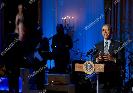 """Barack Obama President Barack Obama speaks during the """"In Performance at the White House: Women of Soul"""" in the East Room of the White House in Washington, hosted by President Barack Obama, and first lady Michelle Obama. The program include performances by Patti LaBelle, Tessanne Chin, Melissa Etheridge, Aretha Franklin, Ariana Grande, Janelle Monáe and Jill Scott"""