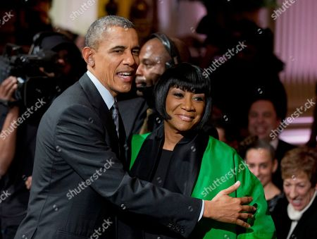"""Barack Obama, Patti LaBelle President Barack Obama greets Patti LaBelle after she performed """"Over the Rainbow"""" during the """"In Performance at the White House: Women of Soul' in the East Room of the White House in Washington, . The program included performances by Tessanne Chin, Melissa Etheridge, Aretha Franklin, Ariana Grande, Janelle Monáe and Jill Scott"""