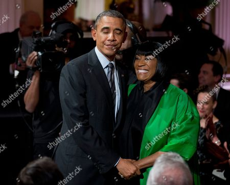 """Barack Obama, Patti LaBelle President Barack Obama greets Patti LaBelle after she performed """"Over the Rainbow"""" during the """"In Performance at the White House: Women of Soul"""" in the East Room of the White House in Washington, hosted by President Barack Obama, and first lady Michelle Obama. The program included performances by Tessanne Chin, Melissa Etheridge, Aretha Franklin, Ariana Grande, Janelle Monáe and Jill Scott"""