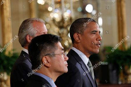 Barack Obama, Gary Locke, Jim McNerney President Barack Obama, right, with Boeing President, Chairman and CEO Jim McNerney, Jr., center, and Commerce Secretary Gary Locke, left, as he speaks about exports, jobs, and the economy, in the East Room of the White House in Washington