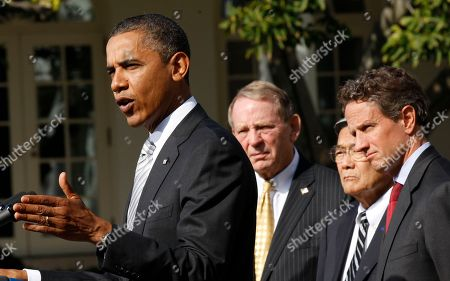 Barack Obama, Samuel Skinner, Norman Mineta, Timonthy Geithner President Barack Obama, left, speaks to reporters in the Rose Garden to highlight a new report on the impact of his $50 billion infrastructure-investment proposal, at the White House in Washington. With Obama are from left to right, former Secretaries of Transportation Samuel Skinner, Norman Mineta and Secretary of Treasury Timonthy Geithner