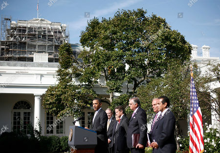 Barack Obama, Samuel Skinner, Norman Mineta, Timonthy Geithner, Ray LaHood, Ed Rendell, Antonio Villaraigosa President Barack Obama, left, speaks to reporters in the Rose Garden to highlight a new report on the impact of his $50 billion infrastructure-investment proposal, at the White House in Washington. With Obama are from left to right, former Secretaries of Transportation Samuel Skinner and Norman Mineta, Secretary of Treasury Timonthy Geithner, Secretary of Transportation Ray LaHood, Gov. Ed Rendell, D-Penn., and Los Angeles Mayor Antonio Villaraigosa